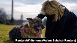 ARHIVA - Prva dama Džil Bajden sa nemačkim ovčarom Čempom, januar 2021. (Foto: Reuters/White House/Adam Schultz)