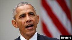 지난 9일 바락 오바마 미국 대통령이 백악관 로즈가든에서 도널드 트럼프 차기 대통령 당선과 관련해 연설하고 있다.