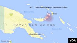 Gempa berkekuatan 7.4 SR mengguncang wilayah Papua Nugini, sekitar 130 kilometer sebelah selatan kota Kokopo, pulau New Britain.
