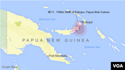 M7.5 Earthquake - 130km SSW of Kokopo, Papua New Guinea
