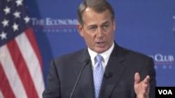 Ketua DPR AS, John Boehner berbicara mengenai permasalahan ekonomi AS dalam forum di Washington (15/9).