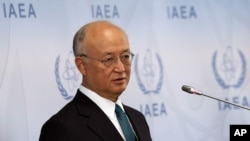 6일 국제원자력기구 IAEA의 아마노 유키야 사무총장이 오스트리아 빈에서 열린 상반기 이사회 회의 후 기자회견을 하고 있다.