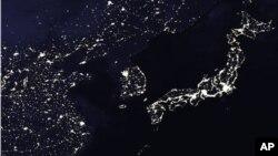 美國太空總署圖片顯示中國、朝鮮半島和日本的夜景