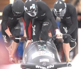 US Men's bobsled team during competition