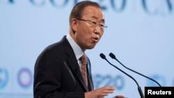 Sekjen PBB, Ban Ki-moon berbicara pada konferensi perubahan iklim COP 20 di Lima, Peru (11/12).