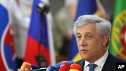 Antonio Tajani au sommet de l'Union européene à Bruxelles, le 22 juin 2017