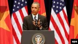 Tổng thống Obama đọc diễn văn tại Trung tâm Hội nghị Quốc gia tại Hà Nội, Việt Nam, ngày 24/5/2016.