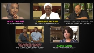 American Muslims include, clockwise from top left: Noor Tagouri, Labeebah Salaam, Imam Daayiee Abdullah, Amina Imran, and Muhammad Dumilik and Calvin Spivey.