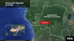Map of Democratic Republic of Congo, highlighting the capital Kinshasa