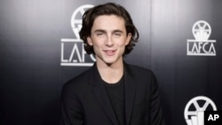 Timothee Chalamet attends the 43rd Annual Los Angeles Film Critics Association Awards in Los Angeles, Jan. 13, 2018. Chalamet said he will donate his salary for an upcoming Woody Allen film to charities fighting sexual harassment and abuse.