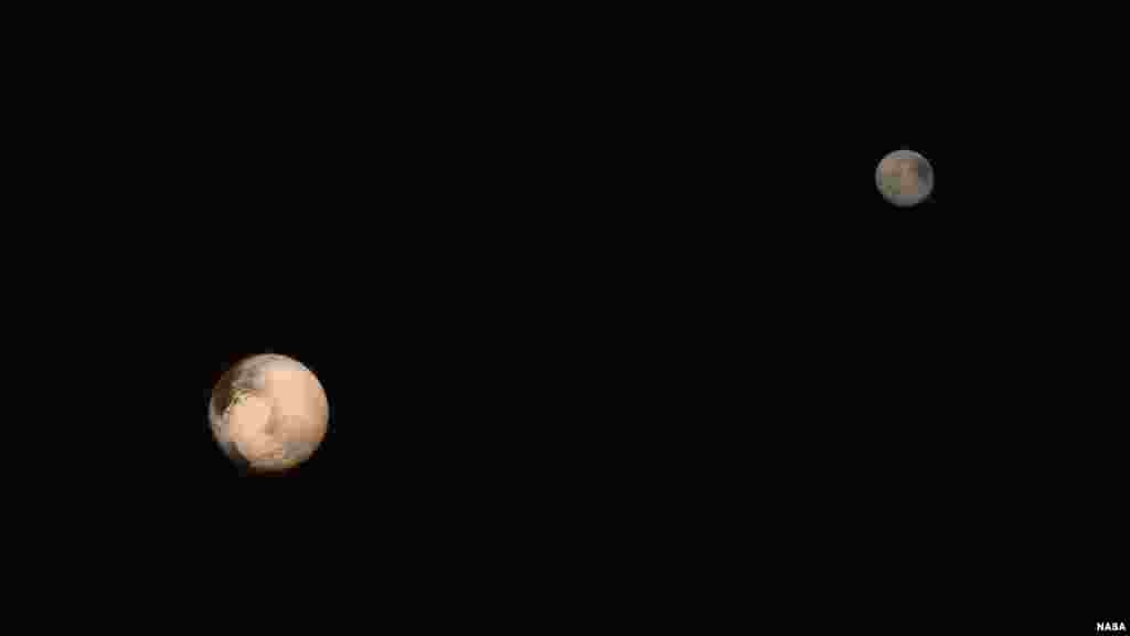 The latest two full-frame images of Pluto and Charon were collected separately by New Horizons during approach on July 13 and July 14, 2015. The relative reflectivity, size, separation, and orientations of Pluto and Charon are approximated in this composite image, and they are shown in approximate true color. (Image Credit: NASA/JHUAPL/SWRI)