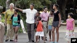 美國總統奧巴馬在夏威夷的檀香山渡假