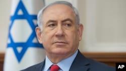 以色列總理內塔尼亞胡10月1日參加內閣會議照。
