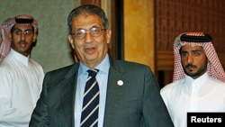FILE - Amr Moussa in Doha, April 23, 2007.