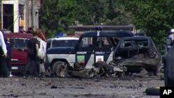 "Lokasi pemboman bunuh diri di Makhachkala, Dagestan (25/5), yang dilakukan oleh janda Islamis militan yang dikenal dengan sebutan ""Black Widow"". (Video AP)"