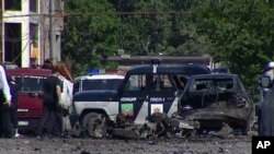 Hiện trươờg vụ nổ bom tại Quảng trường của Makhachkala, thủ phủ của Dagestan, ngày 25/6/2013.
