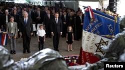 Эммануэль Макрон и Биньямин Нетаньяху на мемориальной церемонии. Париж, 16 июля 2017 г.