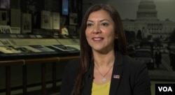 Dr. Lina Alathari, chief of the U.S. Secret Service National Threat Assessment Center, which advises schools and law enforcement on how to prevent school violence, April 12, 2019. (A. Greenbaum/VOA)