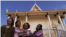 The three survivors, along with a Cambodian American professor Leakhena Nov, at the temple. (Courtesy Photo of Michael Siv)