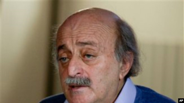 Lebanese Druse leader Walid Jumblatt speaks during a press conference at his house in Beirut, Lebanon, Jan. 21, 2011