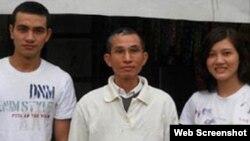 Blogger Huỳnh Thục Vy (phải), ông Huỳnh Ngọc Tuấn, và Huỳnh Trọng Hiếu