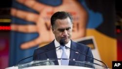 Ông Mitt Romey đọc diễn văn tại Đại hội thường niên của Hiệp Hội Toàn Quốc vì sự Thăng tiến của Người Da Màu (NAACP) tại Houston, Texas, ngày 11/7/2012