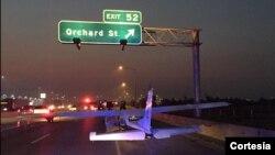 Foto proporcionada por la policía de Boise, de la avioneta siniestrada.