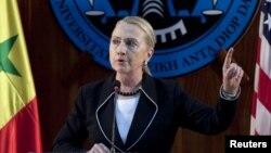 美國國務卿希拉里‧克林頓在塞內加爾一所大學發表演說