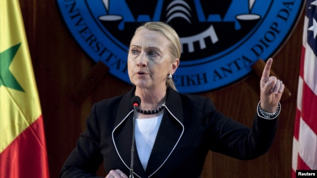U.S. Secretary of State Hillary Clinton speaks at the University of Dakar in Senegal, August 1, 2012.