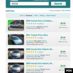Website Getaround.com, mengiklankan mobil-mobil milik pribadi yang siap untuk disewa.