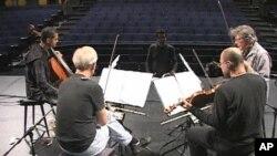 The Kronos Quartet rehearses 'Threnody for Those Who Remain' by Iranian composer Sahba Aminikia