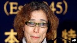Junko Ishido, ibu dari Keni Goto dalah satu dari dua warga Jepang yang disandera ISIS berbicara dalam konferensi pers di Tokyo (23/1).