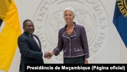 Filipe Nyusi, Presidente de Moçambique, e Christine Lagarde, directora-geral do FMI, Washington,