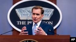존 커비 미국 국방부 대변인이 22일 워싱턴 국방부 청사에서 브리핑을 했다.