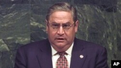 On June 8, 1998, President of El Salvador Armando Calderon delivers a speech at the United Nations.