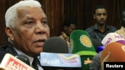 Sudan's Information Minister Ahmed Belal Osman speaks during a news conference in Khartoum November 22, 2012.