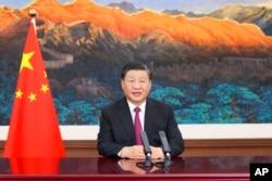 Presiden China Xi Jinping berpidato di KTT Perdagangan Jasa Global pada Pameran Internasional China untuk Perdagangan Jasa 2021 yang diadakan di Beijing pada Kamis, 2 September 2021. (Foto: via AP)