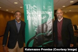Tinashe Chaponda with Von Washington of Kalamazoo Promise.