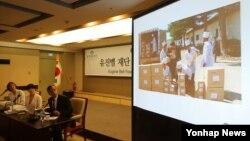 북한에서 다제내성결핵 치료사업을 하는 민간단체인 유진벨 재단이 지난 15일 서울 프레스센터에서 열린 방북 보고 기자회견에서 치료활동 중 촬영한 사진을 공개했다.