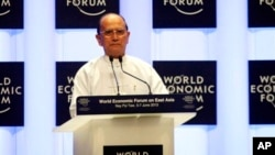 Burma's President Thein Sein speaks during opening ceremony of World Economic Forum, June 6, 2013