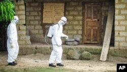 지난 10월 서아프리카 시에라리온에서 현지 의료요원들이 에볼라 방역 활동을 펼치고 있다. (자료사진)