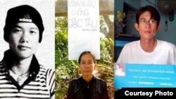 Bà Nguyễn Thị Kim Liên và hai con Ðinh Nhật Uy (phải) và Ðinh Nguyên Kha. Blogger Đinh Nhật Uy được biết đến qua các bài viết phản đối những chính sách của chính phủ Việt Nam trong vấn đề bảo vệ chủ quyền ở Biển Đông.