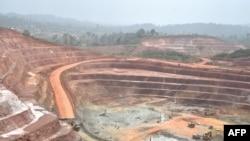 Vue de la mine d'Agbaou en Côte d'Ivoire, le 7 février 2018