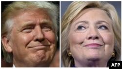 ຜູ້ຖືກສະເໜີຊື່ແຂ່ງຂັນເອົາຕຳແໜ່ງປະທານາທິບໍດີຈາກພັກ ຣີພັບບລີກັນ ທ່ານ Donald Trump (ຊ້າຍ) ກັບຜູ້ຖືກສະເໜີ ຊື່ແຂ່ງຂັນເອົາຕຳແໜ່ງປະທານາທິບໍດີຈາກພັກ ເດໂມແຄຣັດ ທ່ານນາງ Hillary Clinton (ຂວາ)