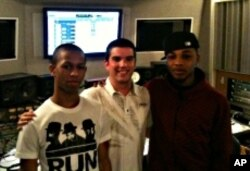 Fresh, Rick Aggeler, and Christian 'C-miccs' McNeil in a studio at Berklee College of Music.