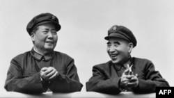 """中国文革初期毛泽东和林彪在天安门城楼上。 """"视觉中国""""被""""从重罚款"""",和毛泽东像有关。"""