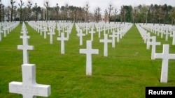 FILE - A view of the Oise-Aisne American Cemetery, Fere-en-Tardenois, near Chateau-Thierry, France, where 6,012 soldiers have been laid to rest, including American Paul Cody Bentley, who died September 16, 1917.
