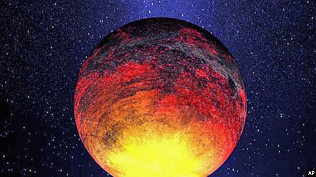 This is an artist rendering provided by NASA one of the smallest planets that Kepler has found - a rocky planet called Kepler-10b - that measures 1.4 times the size of Earth and where the temperature is more than 2,500 degrees Fahrenheit, January 2011