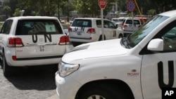 8月26日﹐聯合國化學武器檢查員乘搭的車輛離開酒店前往懷疑發生化武襲擊的地點
