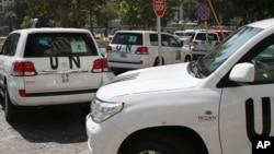 Đoàn xe của các thanh tra Liên hiệp quốc